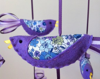 HALF PRICE SALE! Hand Stitched Felt Nursery Mobile with Purple and Blue Birds