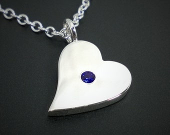 Blue Sapphire Sideways Heart Necklace Pendant in Sterling Silver - Blue Sapphire Heart Pendant, Sterling Silver Heart Necklace, Silver Heart