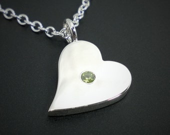 Peridot Sideways Heart Necklace Pendant in Sterling Silver - Sterling Silver Heart Necklace, Sterling Silver Heart Pendant,  Peridot Heart