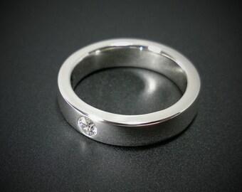 Sterling Silver Diamond Band - Diamond Band, Sterling Silver Diamond Ring, Sterling Diamond Band, Sterling Silver Diamond Wedding Band
