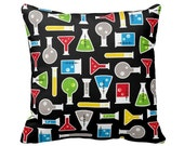 Black Test Tube Zippered Throw Pillow Cover by Primal Vogue™ - Various Sizes 14x14 16x16 18x18 20x20 24x24 - Geek Nerd Science Chemistry