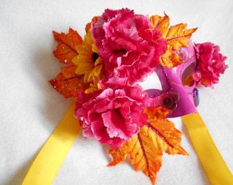 Fall, masquerade mask mardi gras, ventenian, decorative, summer, pink, orange, yellow
