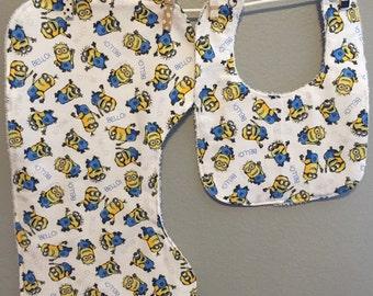 Minion Baby Gift Set Bib, Burp Cloth