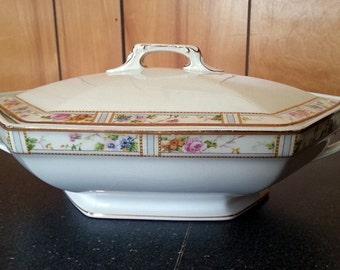"""Art Deco Era WH Grindley Ivory Flower """"Excelsior"""" Covered Vegetable or Soup Serving Bowl Dish"""
