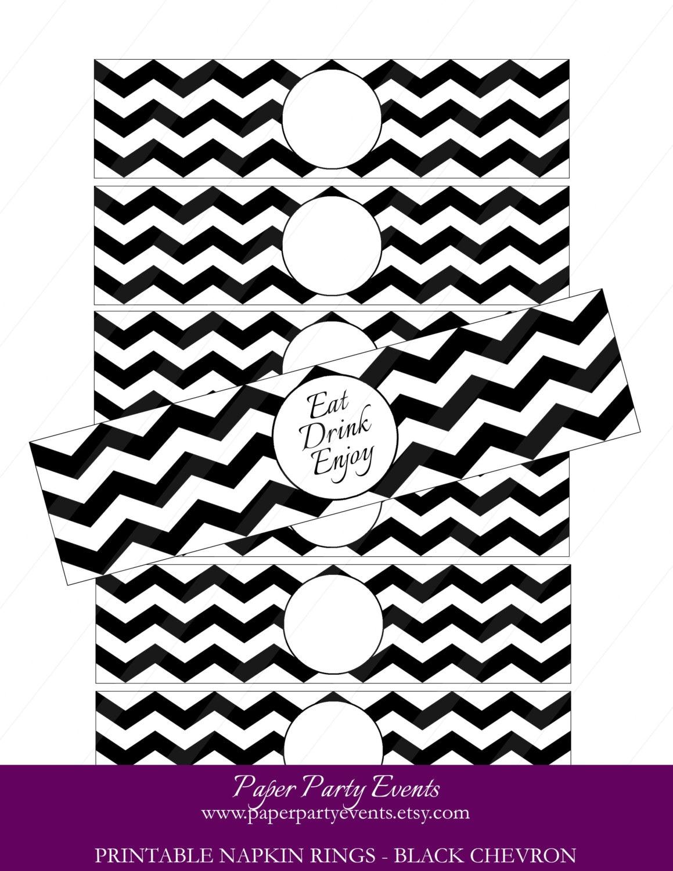 Editable printable napkin rings Black Chevron by ...