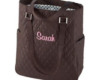 On Sale! Brown Quilted Tote Bag with Polka Dot Lining (e118-1113-1) - Free Personalization