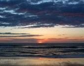 Sunrise II Instant Photo Download, Insta-Photo, Landscape Photography, Beach, Ocean, Sun, Clouds, Waves, Blue, Golden, Water, Peach, Light