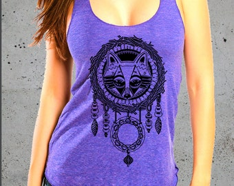 Fox Dream Catcher Tank-Trendy Dream catcher shirt-Fox Print Top-Womens Fox T shirt- Bohemian-Native american Apparel-Valentines Gift for her