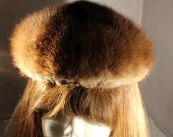 GWENN PENNINGTON Exclusive 1950's Vintage Dark Mink Fur Pillbox or Beret Style Hat