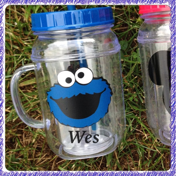Personalized Cookie Monster Mason Jar Tumbler