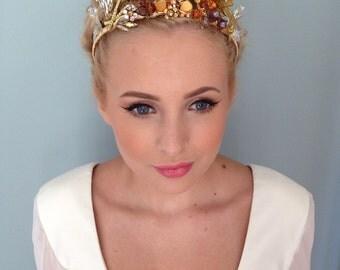 Unique Amber Vintage Bridal Wedding Tiara Headdress Crown Headpiece Hair Accessory