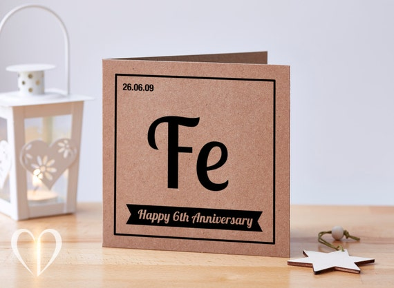 Six Year Wedding Anniversary Gift Ideas: Personalised 6 Year Anniversary Card 6th Anniversary Card