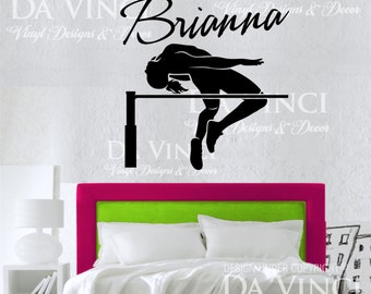 High Jump Track Field Decal Custom Girl Name Wall Personalized Vinyl Sticker