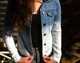Denim jacket, blue jacket, blue two tone denim jacket, vintage denim jacket, two tone denim jacket,