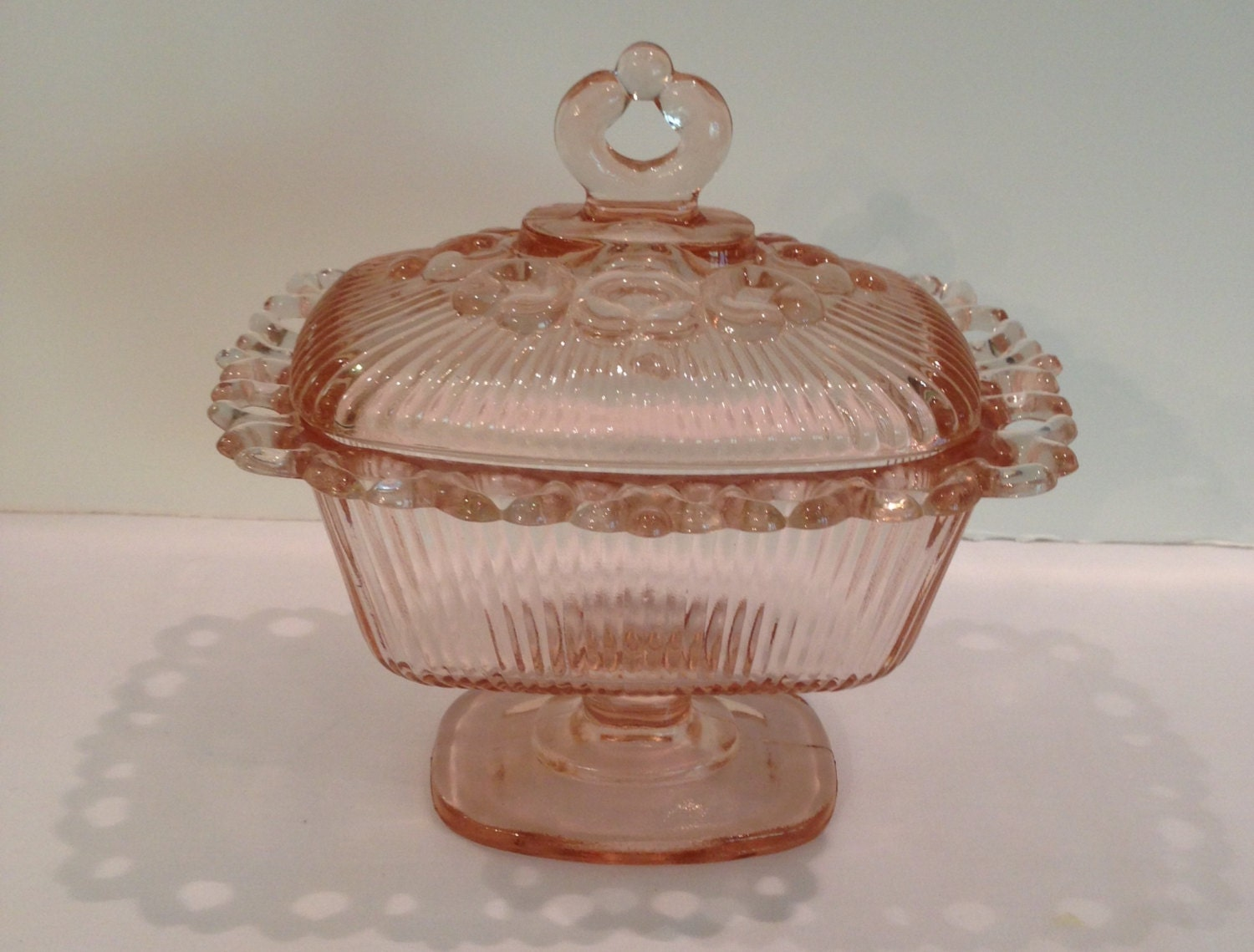 Indiana Pink Depression Candy Dish Rectangular Footed Lace