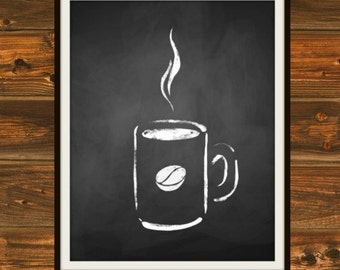 Steaming Cup O' Joe - Chalkboard, Chalkboard Print, Coffee, Steaming Coffee, Black and White, Chalk, Cup of Coffee, Java, Coffeehouse Print