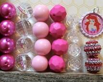 Ariel Little Mermaid DIY Necklace Kit, Mermaid Birthday, Wholesale Bead Kit, Princess Birthday Necklace, Elsa Frozen, Disney Inspired