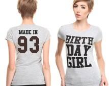 Custom Design Crew Neck Grey Birthday Girl T-shirt, Birthday Gift T-shirt, Women's Birthday Gift, Birthday Outfit  Custom Shirt Printing