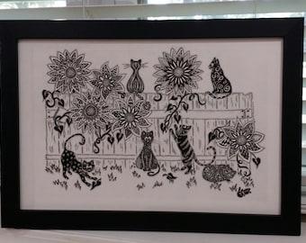 Black and White Tangled Themed Artwork