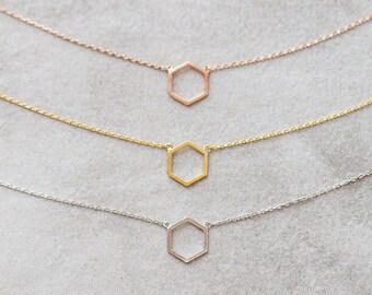 Hexagon Outline Necklace