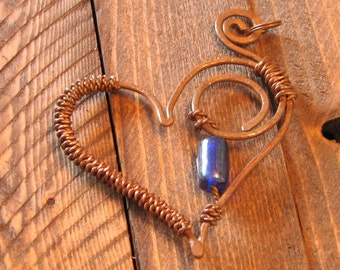 Copper Heart Pendant with Blue Glass Bead