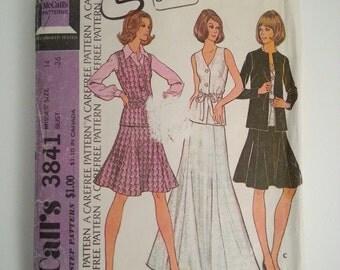 A line skirt / 70s suit / vest women / suit women / 70s jacket / vintage sewing pattern, Size 14, Bust 36, McCalls M 3841, CarolJoyFashions