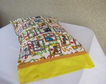 Pillowcase, Pillow case, Children's pillowcase,  Child's pillowcase, bed linens, pillowcase,  carousel horse, circus, yellow pillowcase