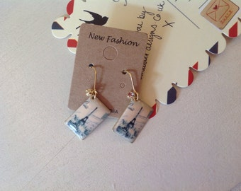 Gold Eiffel Tower Paris earrings with small diamanté detail and fish hook style