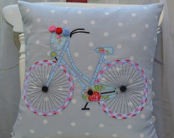 Bicycle Pillow/Applique Cushion cover/Cath Kidston cushion/New Home gift/Clarke & Clarke Blue Dot cushion/Blue pillow/Handmade gift/Sizes