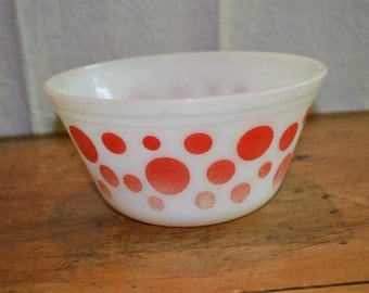 Sale Item. FEDERAL Glass Bowl. RED DOTS  on White Glass. Mid Century Classic. 1950's item.