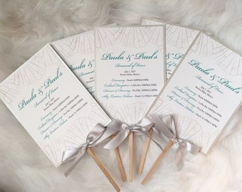 Silver and Turquoise, Destination Wedding, Wedding Program Fan, SIlver bow tie