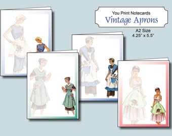 Vintage Apron Notecards, Instant Download, Apron Card, Printable Notecards A2, 4 designs