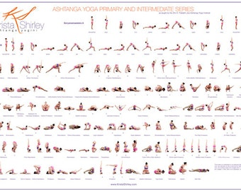 Ashtanga Yoga Poster - Primary Series - Intermediate Series - Yoga Tutorial - Yoga Postures - Learn Yoga