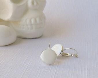 CONFETTI DROPS - hand cast resin leverback earrings in white