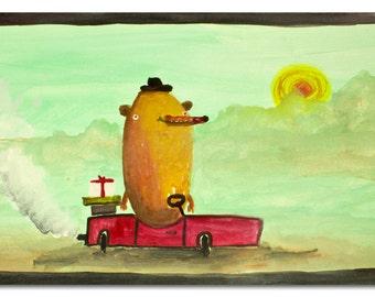 original painting, original art, gouache, original artwork, bon voyage