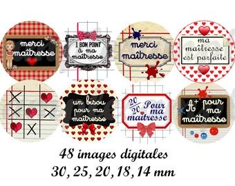 """images digitales rétro """"Maîtresse Rétro"""", collage digital pour bijoux, cabochon, médaillon, école, enfant, maîtresse."""