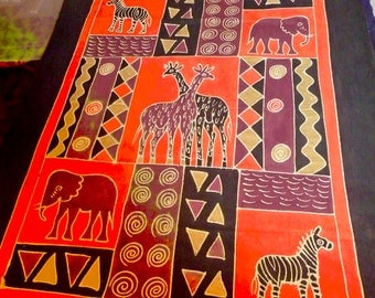 Awesome African Batik Tablecloth/Bedcover: Elephant/Zebra/Giraffe