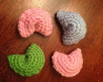 Crochet fortune cookies with catnip