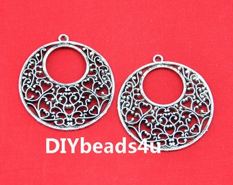 38mm---20pcs Antique Silver filigree Drop Charm Pendants Earring Findings,DIY Accessory Jewelry Making------G1730