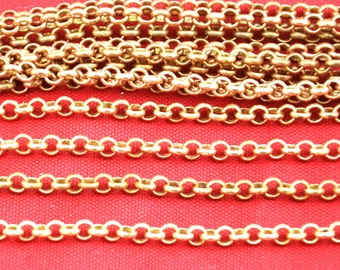 16ft 5 meters 3mm Round Solid Copper Cable Link Chains Antiqued,  Links -- -H0095