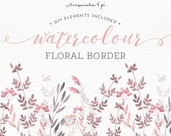 Watercolor Floral Border Hand Painted Clip Art Wedding Invitation Commercial