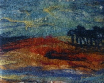 The Stream - Original Small Needle & Wet Felted Textile Artwork
