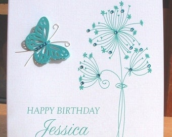 Personalised card, birthday card, floral birthday card, butterfly birthday card, teal birthday card, handmade card, greeting card, UK seller
