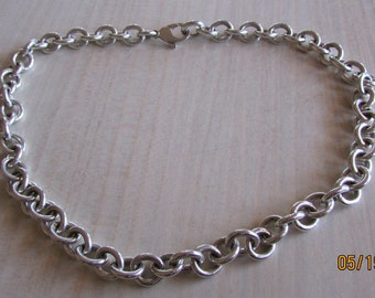 Heavy Handmade Sterling Silver Chain 17 1/2""