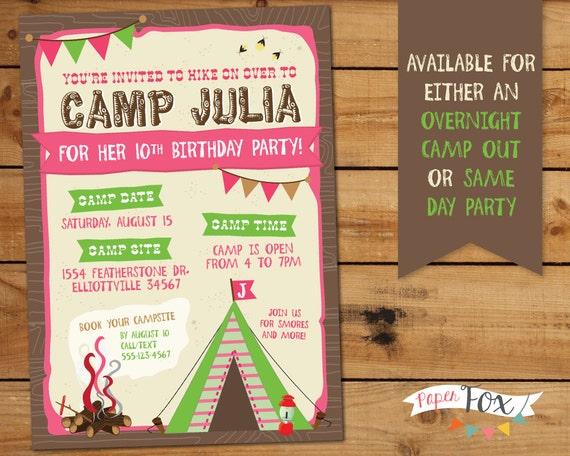 camping birthday invitation / glamping birthday party /, Birthday invitations