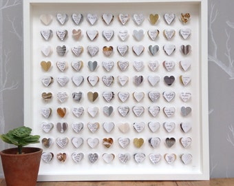 Guest book alternative. Guest book wedding. Metallic gold silver. 100 hearts. LARGE SIZE. Silver wedding. Gold wedding. Hearts guest book.