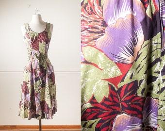 70s Hawaiian Dress, 70s Dress, Summer Dress, Boho Dress, Floral Print Dress, Retro Sundress, Tropical Print Dress, Retro Dress, 60s Dress