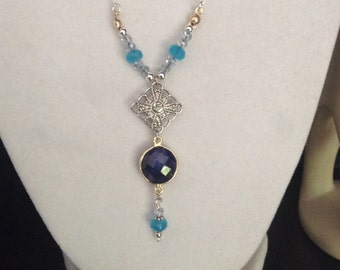 Silver and Sapphire Necklace