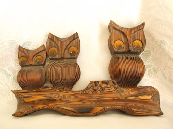 Wooden Owl Wall Decor : Vintage owl wall art wood hanging made in
