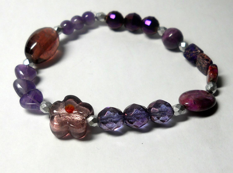 purple amethyst beaded bracelet artisan jewelry by